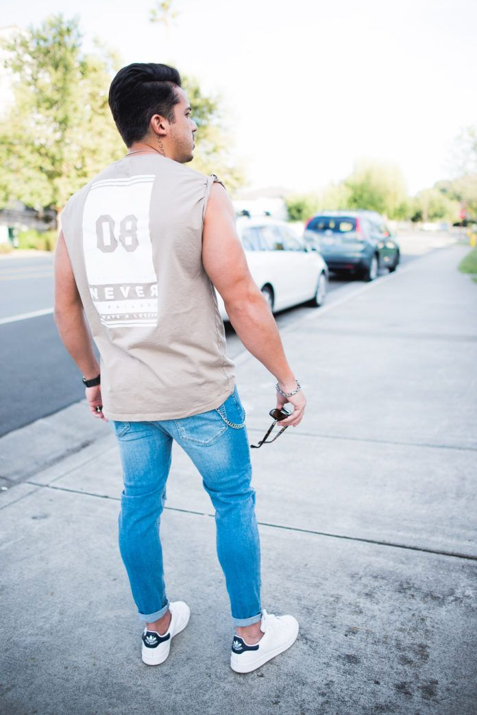 Men's Outfit Idea: Muscle Sleeveless T Shirt and Ripped Jeans | #asos #asseenonme