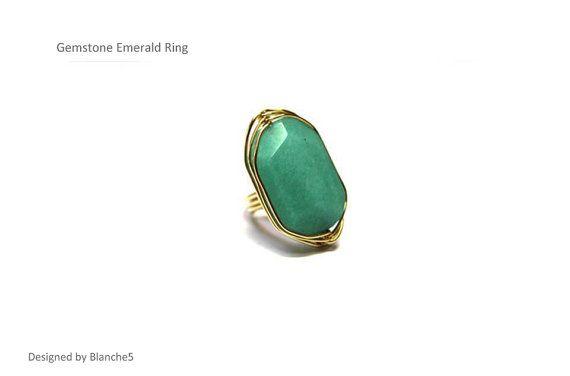 Gemstone Emerald Ring by Myfunny on Etsy, $20.10