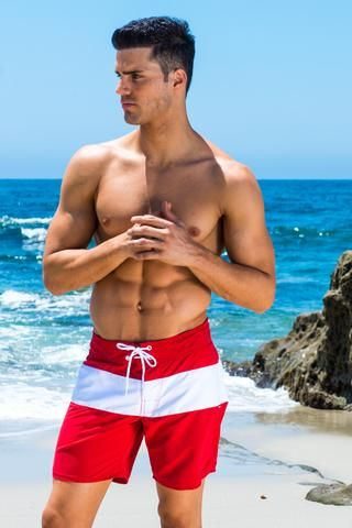 Sauvage Men's Swim Shorts - These Sauvage mens swim shorts are classic. They feature a longer inseam as well as an adjustable drawstring for maximum  comfort. The red and white striped patterned is masculine and flattering on any male. #red