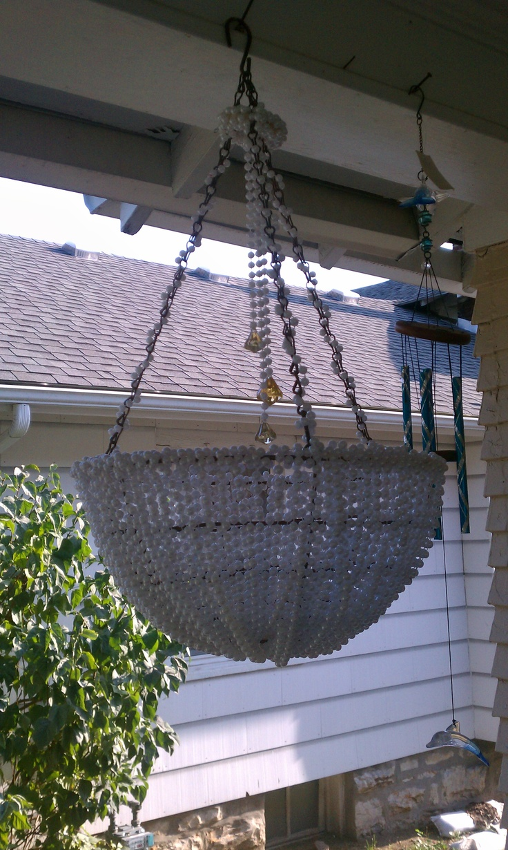 My Home made chandelier made from Halo Heaven beads and a plant hanger