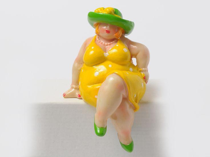 Dikke dame Romy, geel Groot - Assortiment - Iedersstijl Webshop, met onder andere dikke dames en andere leuke kado's!