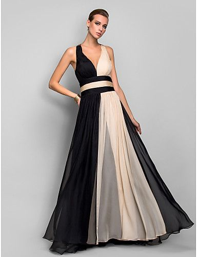 Military Ball/Formal Evening Dress - Multi-color A-line/Princess V-neck Floor-length Chiffon – USD $ 94.99