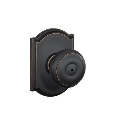 Schlage Camelot Collection Georgian Aged Bronze Bed and Bath Knob-F40 GEO 716…