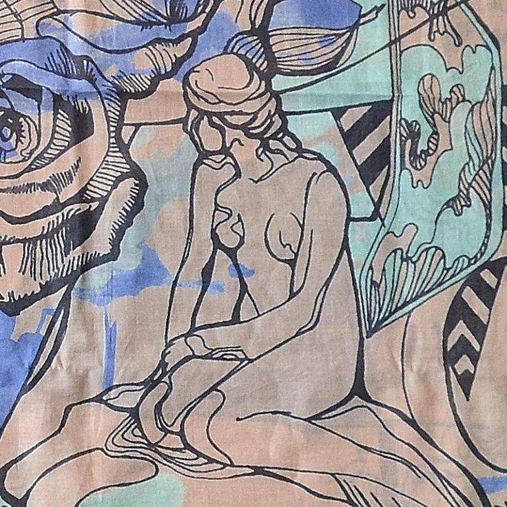 Detail van de prachtige Bella Ballou sjaal CPH - perzik/grijs/lavendel