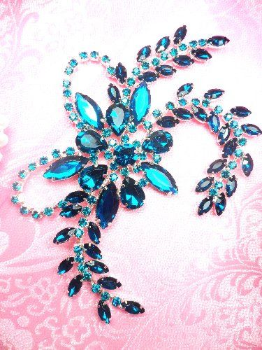Turquoise Crystal Rhinestone Applique Embellishment