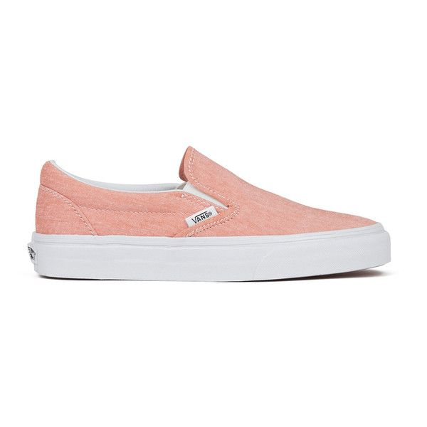 Vans Women's Classic Slip-on Chambray Trainers - Coral/True White found on Polyvore featuring shoes, sneakers, vans, tenis, orange, white trainers, vans trainers, white shoes, woven sneakers and white slip on shoes