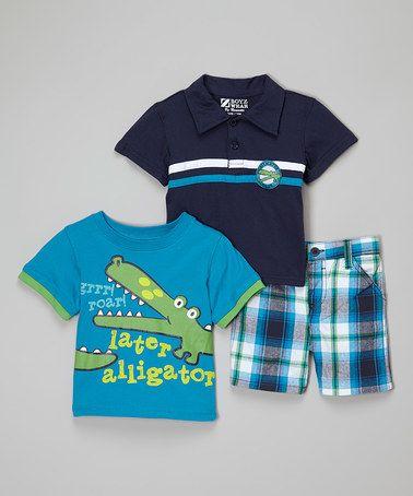 Look at this #zulilyfind! Navy Alligator Polo Set - Infant & Toddler #zulilyfinds