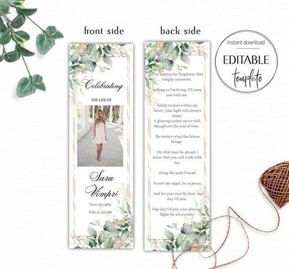 Printable Funeral Bookmark Editable Bookmark Funeral Etsy Bookmark Template Celebration Of Life Funeral