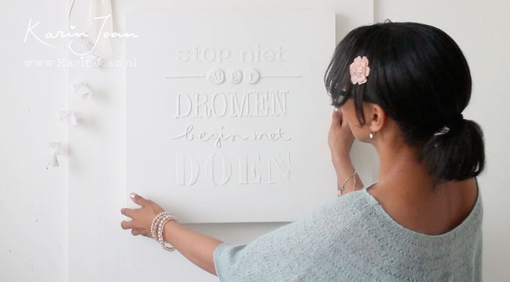 Karin Joan: GIVE AWAY & ZELFMAKEN & VIDEO: Canvas met 3D letters van babypoeder en satehstokjes!!