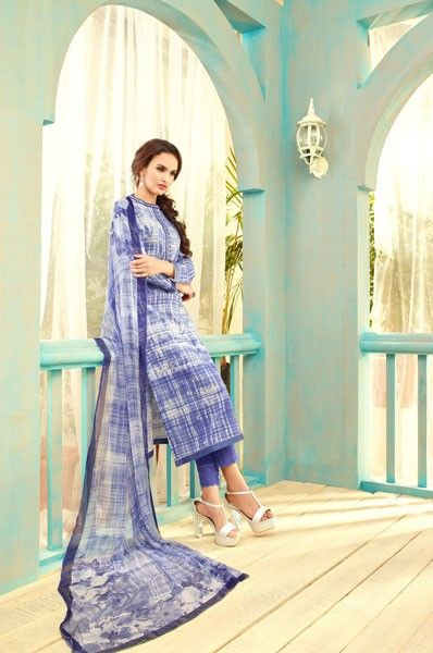 Party Wear Lawn Cotton Digital Print Embroidered Straight Cut Salwar Kameez