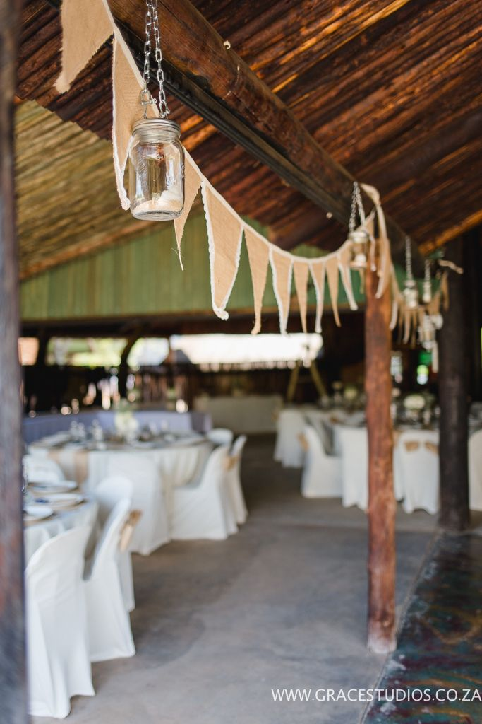 Rustic wedding décor. Bunting with lace. Done by Blushing Rose.
