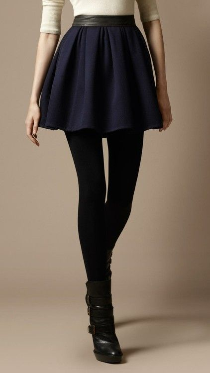 cream cashmere and navy flared skirt