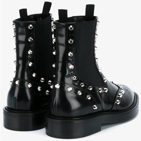 Balenciaga Balenciaga Studded Brogue Chelsea Boots ($705) ❤ liked on Polyvore featuring shoes, boots, flat sole boots, chelsea ankle boots, black shoes, black brogues and chelsea bootie