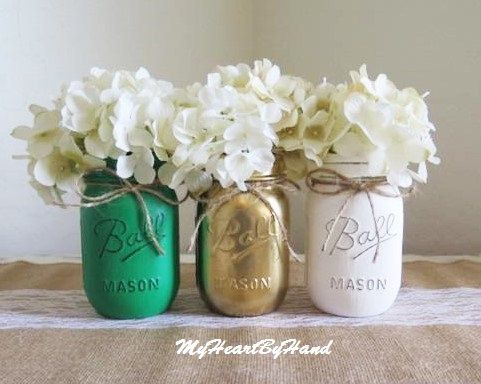 St. Patricks Day Home Decor, Distressed Painted Mason Jars, Kelly Green, Gold, White, St Pattie's Day, Team Colors, Shamrock Centerpieces by MyHeartByHand on Etsy