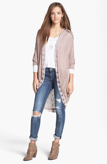 Painted Threads 'Mary Kate' Lace Trim Cardigan (Juniors) available at #Nordstrom obsessed with this!!