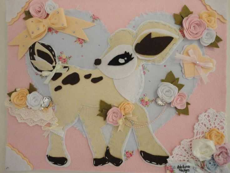 Darling Deer Canvas Artwork -  Darling and dreamy, fit for a princess ! handmade by www.facebook.com/ittybittyindidesigns