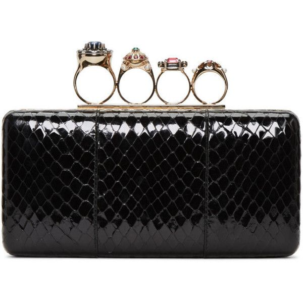 Alexander McQueen Black Snakeskin Ring Box Clutch (8,465 PEN) ❤ liked on Polyvore featuring bags, handbags, clutches, black, hard clutch, snakeskin handbags, multi colored clutches, box clutch and multi color purse