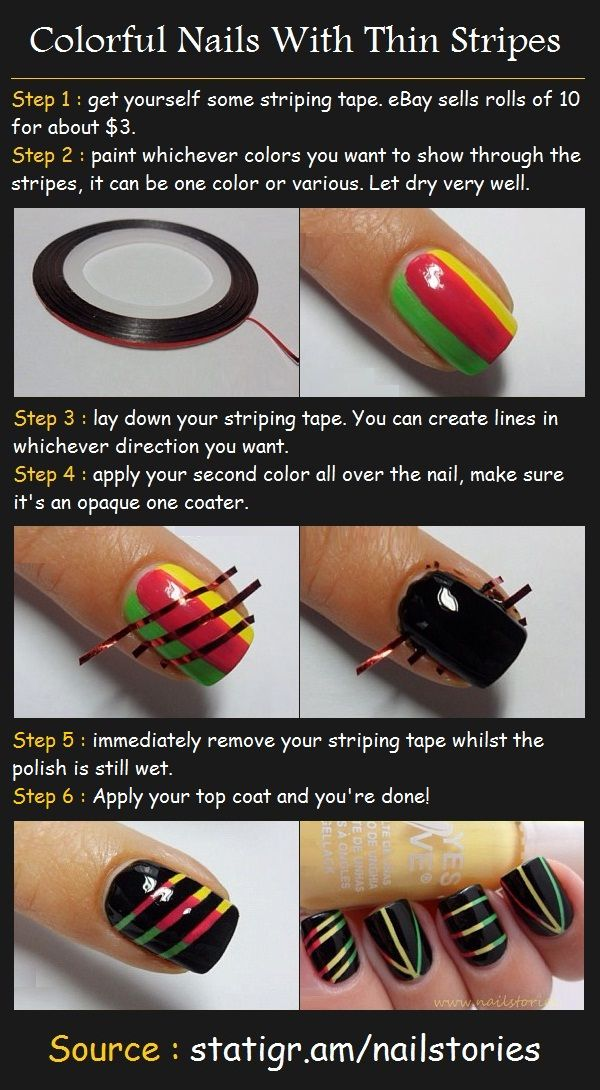 Colorful Thin Stripes Tutorial | Beauty Tutorials