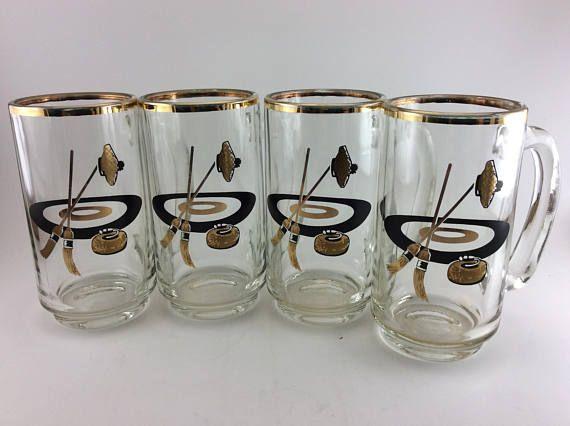 Curling Mugs Beer Mugs Beer Steins Beer Glasses Curling Sport Curling Brooms Curling Stone Black & Gold Mid Century MCM Barware Set of 4
