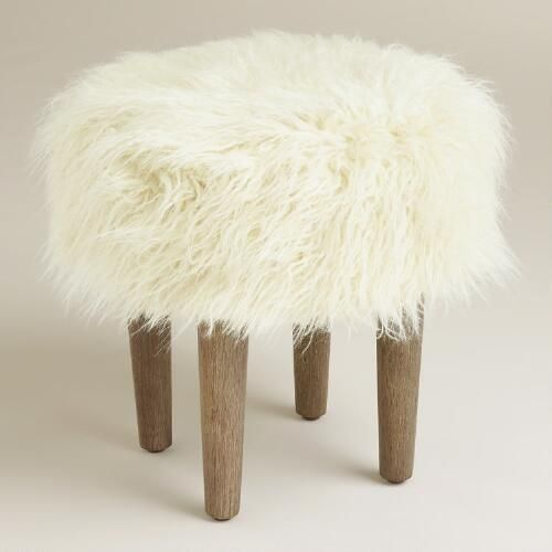 One of my favorite discoveries at WorldMarket.com: Natural Flokati Stool