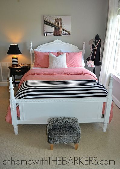 Teen Girl Room Makeover, Painted bed and end table