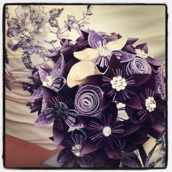Paper Flower Bridal Bouqets by ArtByReharn on Etsy