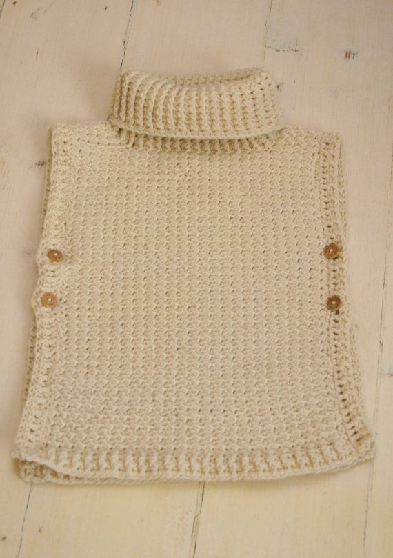"*** This listing is only a PDF PATTERN in ENGLISH and not a finished product ***  This is a crochet pattern for simple poncho Scarlett. The poncho has a ribbed collar and it fastens with buttons on sides, the edges make cute cap sleeves. Cute garment for a little boy or girl to wear on colder days.  Sizes: 12-24m/3-5y/6-10y  Finished measurements about (width across x height): 12-24m is 16.1"" x 15.5"" (41 x 39 cm) 3-5y is 16.1"" x 18.1"" (41 x 46 cm) 6-10y is 18.1"" x 20.5"" (46 x 52 cm)  Skill…"