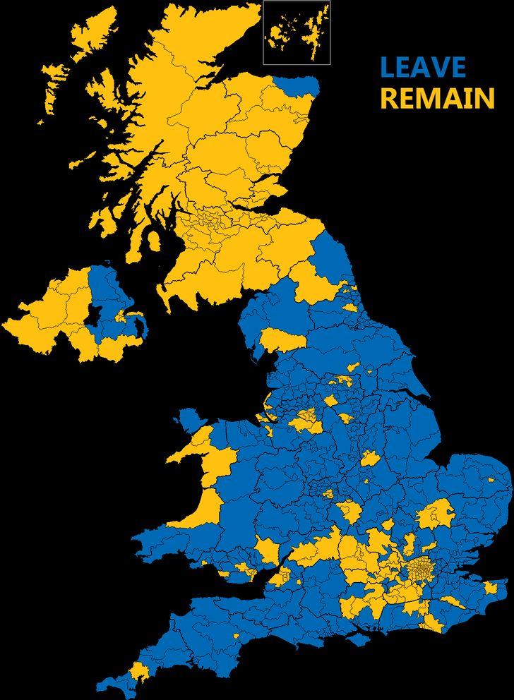 [OC] EU Referendum results broke down by constituency [1250 x 1704]