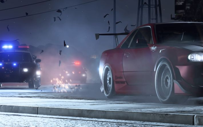 Download wallpapers Need For Speed Payback, 4k, pursuit, 2017 games, NFSP, autosimulator, Nissan Skyline, Need For Speed