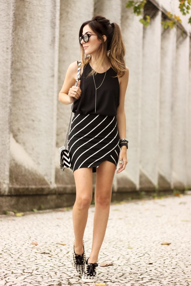 FashionCoolture - 28.09.2015 look du jour Dafiti mix de estampas preto e branco listras Keds (6)