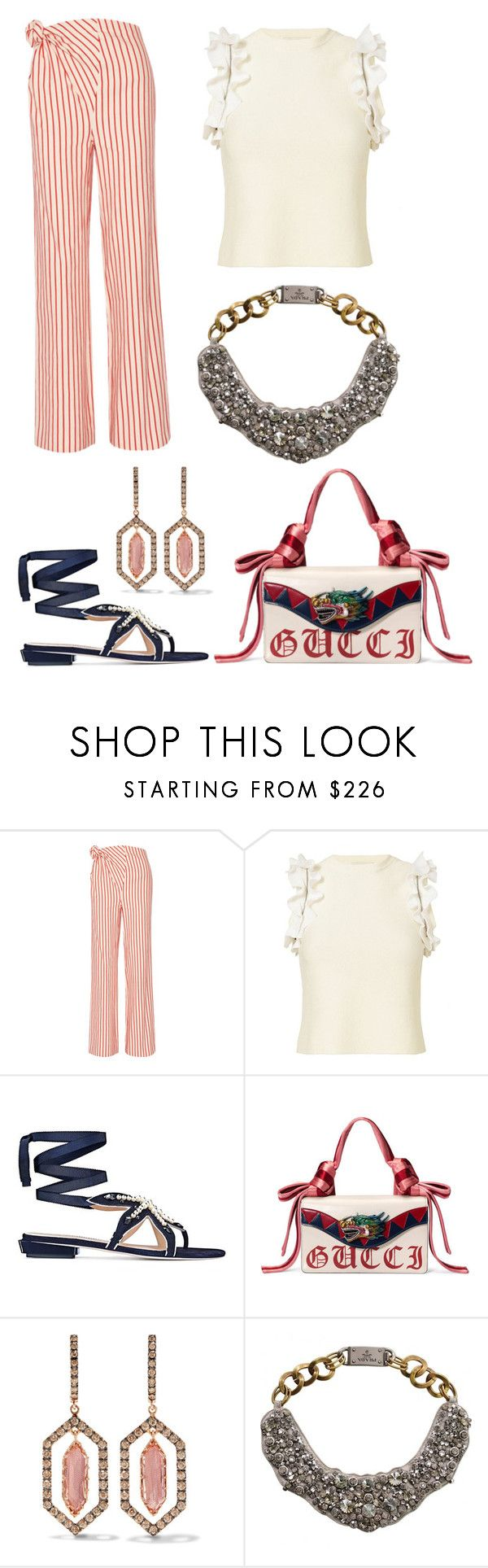 """""""Untitled #2164"""" by filipaloves ❤ liked on Polyvore featuring Rosie Assoulin, 3.1 Phillip Lim, Tory Burch, Gucci, Larkspur & Hawk and Prada"""