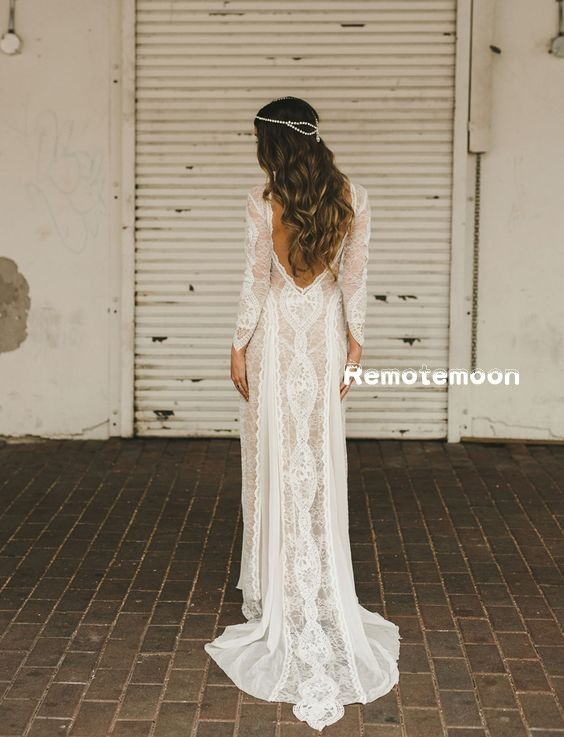 19c5d08640 Vintage Lace Boho Wedding Dress Long Sleeves Backless Summer Beach Wedding  Dress 2018 Summer Bohemian Wedding Dress · Remotemoon · Online Store  Powered by ...