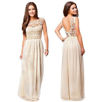 Women Backless Lace Formal Bridesmaid Long Chiffon Evening Party Dress Prom Gown