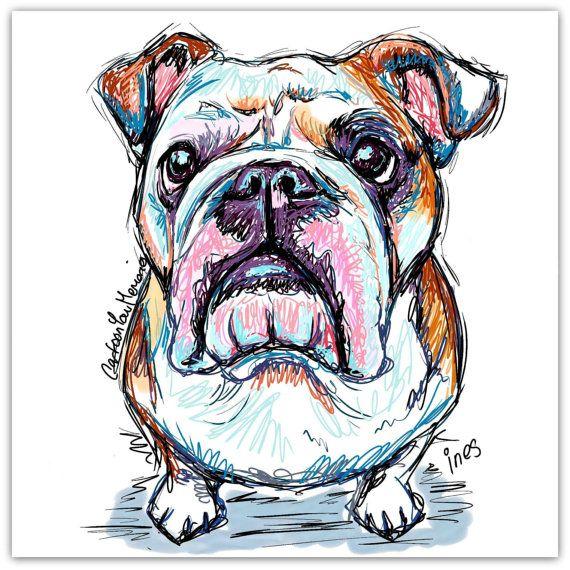 Bulldog doodle by CartoonYourMemories on Etsy