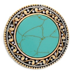 @Overstock - Genuine turquoise Aztec design ringTwo-tone brass jewelryClick here for ring sizing guidehttp://www.overstock.com/Jewelry-Watches/NEXTE-Jewelry-Two-tone-Turquoise-Aztec-Ring/6727884/product.html?CID=214117 $35.49