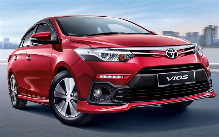 Download wallpapers Toyota Vios, 2018 cars, subcompact sedan, new Vios, japanese cars, red Vios, Toyota
