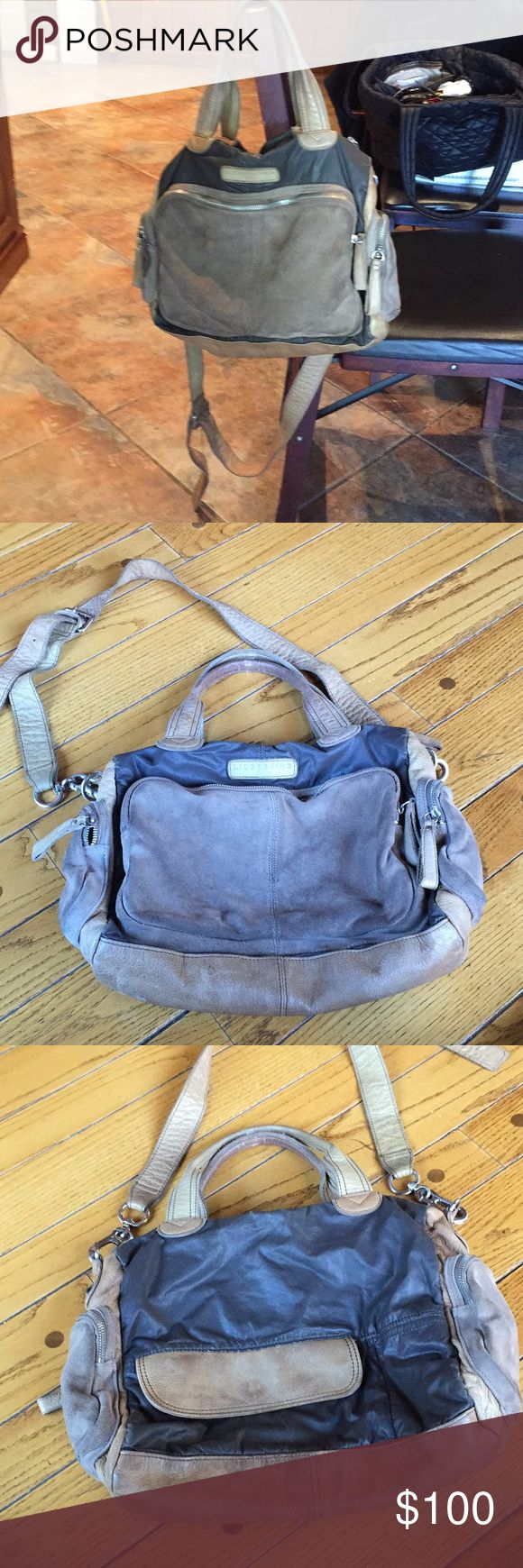 Liebeskind suede bag Charcoal gray and beige suede bag, many pockets inside and out, worn out and slightly stained but in general good condition! Will send more pics upon request! Liebeskind Bags Shoulder Bags