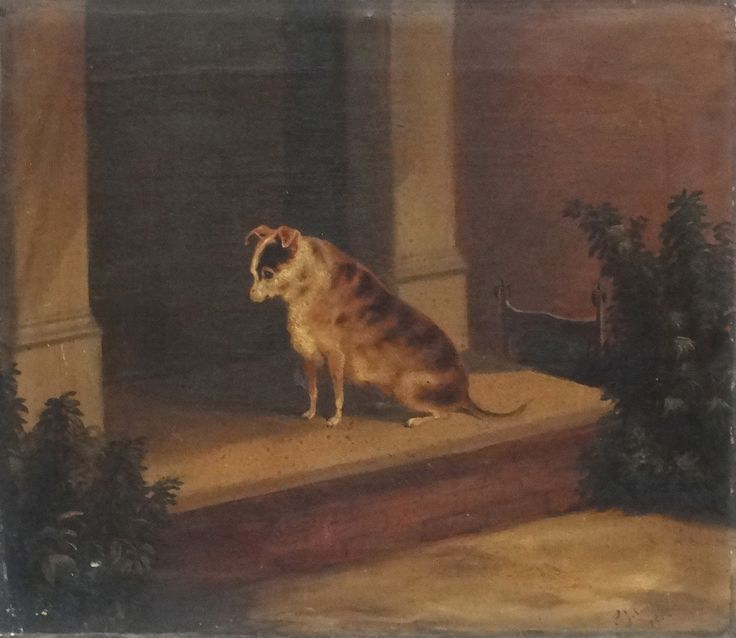 """Lot 53: Samuel John #Carter (1835-1892), Oil on canvas, #dog #portrait, A brindle #Terrier sat patiently on door step, Signed and dated 1882 lower right. 15 3/8 x 18"""". (Father to Howard Carter famous Archaeologist of Tutankhamun fame)."""