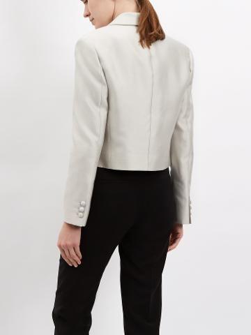 Buy Jaeger Silk Cotton Jacket, Silver Grey | John Lewis