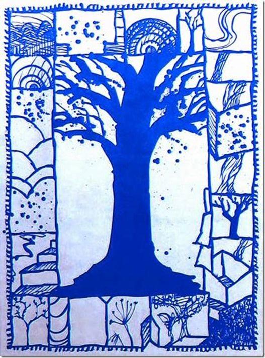 Pierre Alechinsky, arbre bleu 2000