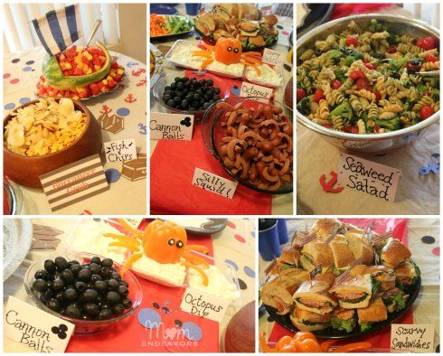 """Pirate Party Food Ideas. Cute, though I think I'll leave the """"scurvy"""" out of the sandwiches!"""