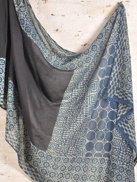 Indigo Batik Cotton  Saree