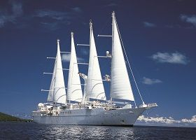 Wind Spirit. Ιδιοκτησία: Windstar Cruises Ltd. Διαχείριση: Windstar Cruises. Σε υπηρεσία το 1988. 5.307GT ~ 134 μ.μ. ~ 15,80 μ.πλάτος ~ 4 κατ/τα~ 11knots ~ 148 επ. ~ 90 α.πλ.
