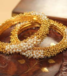 Buy GORGEOUS GOLDPLATED  PEARL-GOLD FINISH BANGLES bangles-and-bracelet online