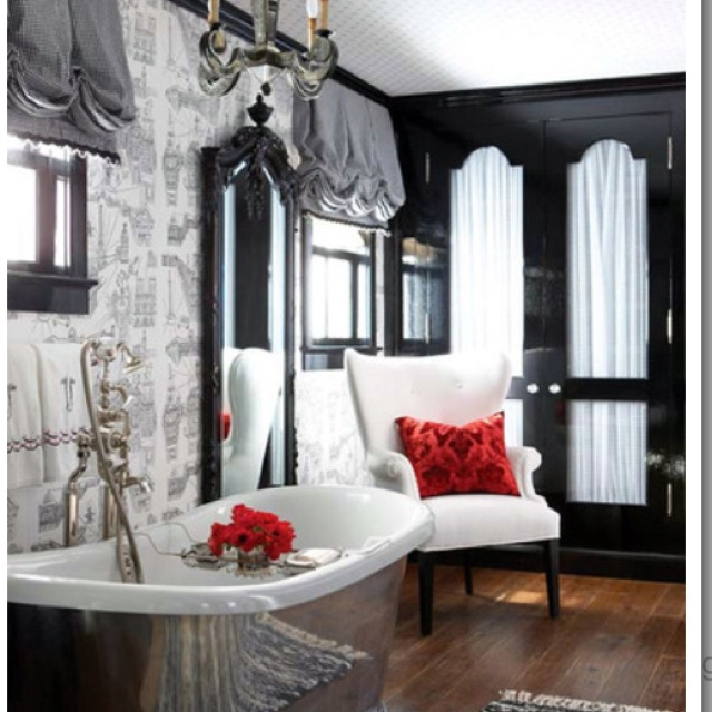 Black and white bathroom with just a touch of red