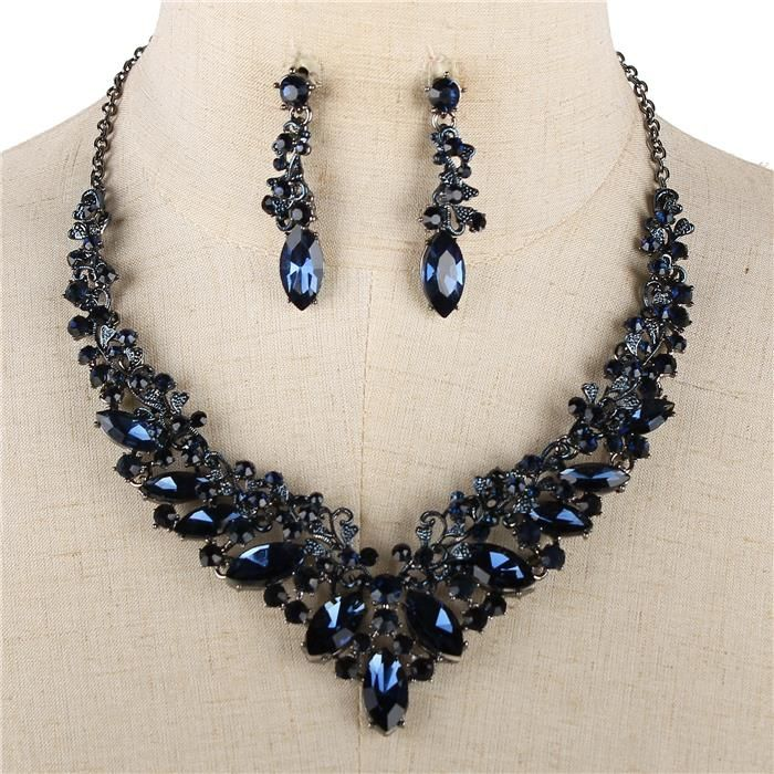 Elegant Navy Blue Sapphire Crystal Formal Necklace Wedding Jewelry