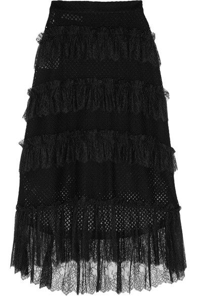 Philosophy di Lorenzo Serafini - Lace-trimmed Tiered Cotton-blend Mesh Skirt - Black - IT44