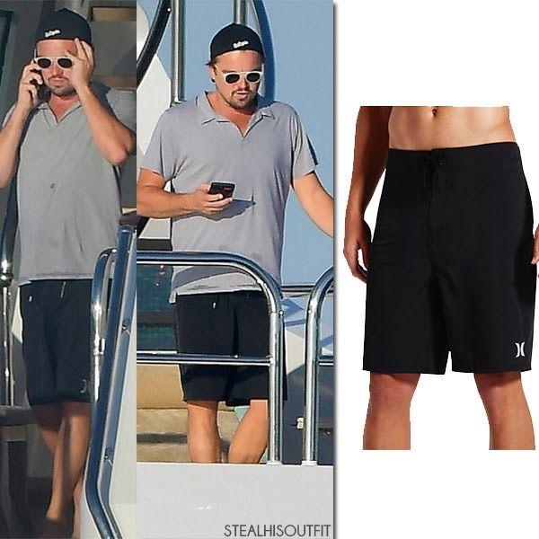 Leonardo DiCaprio in black boardshorts and grey polo shirt on a yacht St. Tropez vacation July 2017