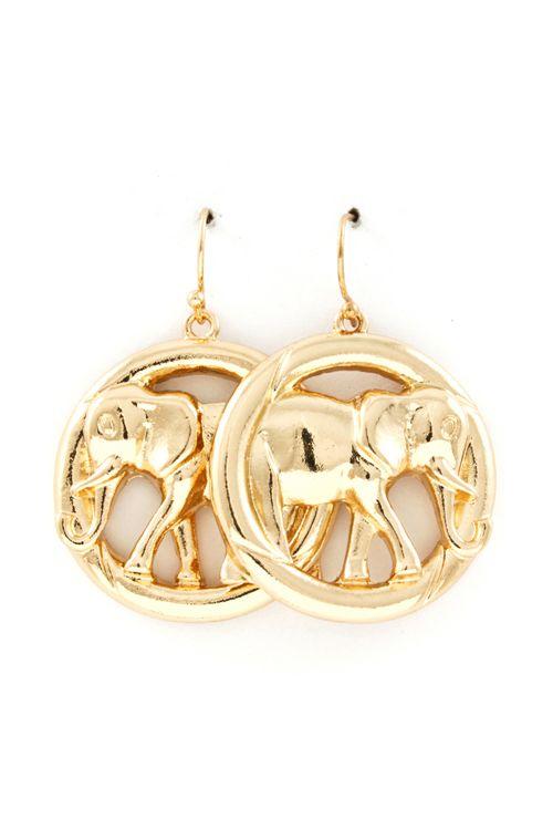 Golden Elephant Earrings - so cute!!!