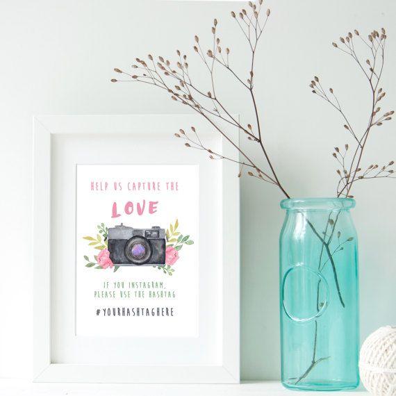 Instagram Sign,BLUE GREY,Wedding Hashtag Sign,Help Us Capture the Love,Digital Vintage Camera Watercolour,Retro cameras,flowers,Photos,decor BY MARAQUELA